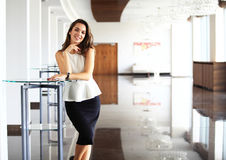 Modern business woman in the office with copy space. Stock Image