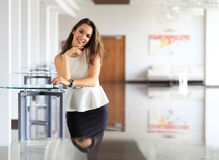 Modern business woman in the office with copy space. Stock Photography