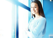 Modern business woman in office with copy space. .Blurred,sunlights Stock Image