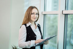 Modern business woman in the office with copy space,Business wom Stock Photos