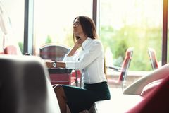 Modern business woman in the office with copy space. Royalty Free Stock Image