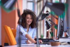 Modern business woman in the office Stock Images