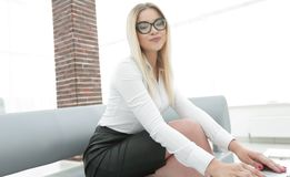 Modern business woman in office Royalty Free Stock Photos