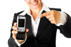 Modern business woman pointing  finger on mobile Royalty Free Stock Photo