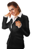 Modern business woman showing contact me gesture. Smiling modern business woman showing contact me gesture isolated on white stock photos