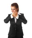Modern business woman showing a partnersh gesture. Smiling modern business woman showing a partnersh gesture isolated on white background stock images