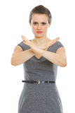 Modern business woman showing stop gesture Royalty Free Stock Photography