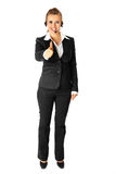 Modern business woman showing thumbs up gesture Stock Image
