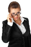 Modern business woman straightening eyeglasses Royalty Free Stock Image