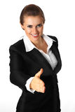 Modern business woman stretches out hand for hands Royalty Free Stock Photos