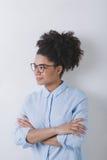 Modern business woman wearing glasses. Studio shot royalty free stock photo