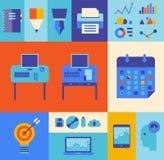 Modern business workflow illustration set vector illustration
