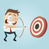 Modern businessman with archery bow Stock Photo
