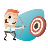 Modern businessman with archery bow Royalty Free Stock Photo