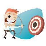 Modern businessman with archery bow. Illustration of a modern businessman with archery bow Royalty Free Stock Photo