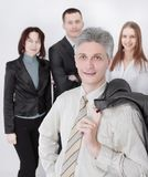 Modern businessman on the background of business team stock images