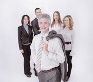 Modern businessman on the background of business team stock photos