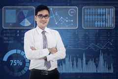 Modern businessman and business chart Royalty Free Stock Photography
