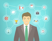 Modern Businessman Conceptual Infographics. Modern flat conceptual illustration of ambitious young smiling businessman in a suit with icons of marketing Stock Image