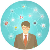 Modern Businessman Conceptual Infographics. Modern flat conceptual illustration of ambitious young smiling businessman in a suit with icons of marketing Royalty Free Stock Photography