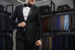 Modern businessman. Fashion shot of a handsome young man in elegant classic suit. Perfect to the last detail. Men`s stock image