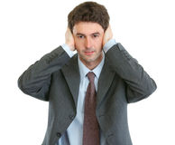 Modern businessman hear no evil Royalty Free Stock Photography