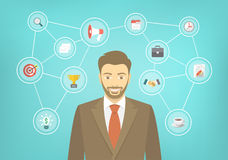 Modern Businessman Hipster Conceptual Infographics. Modern flat conceptual illustration of young smiling hipster businessman in a suit with icons of marketing Stock Photo