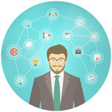 Modern Businessman Hipster Conceptual Infographics. Modern flat conceptual illustration of young smiling hipster businessman in a suit with icons of marketing Royalty Free Stock Photo