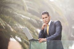 Modern businessman at the office balcony Royalty Free Stock Photos