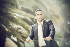 Modern businessman at the office balcony Stock Images