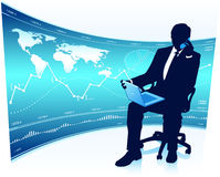 Modern businessman in office chair Stock Images
