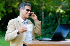 Modern businessman outdoor Stock Photos