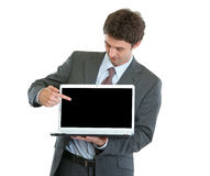Modern businessman pointing in laptop Stock Photos