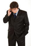 Modern businessman talking on mobile phone Royalty Free Stock Photo