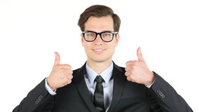 Modern businessman  thumbs up , profit, income, earnings, gain, Stock Images