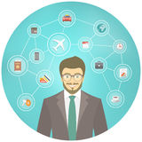 Modern Businessman Travel Conceptual Infographics. Modern flat conceptual illustration of young smiling businessman in a suit with traveling icons on blue Royalty Free Stock Photo
