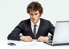Modern businessman at the workplace working with computer Royalty Free Stock Images