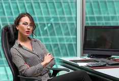Modern businesswoman oinside the office building Royalty Free Stock Image