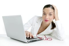 Modern businesswoman with white suit Royalty Free Stock Photography