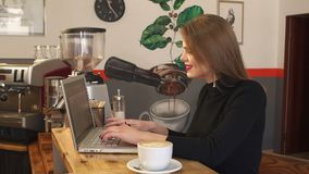 Modern businesswoman working on laptop computer at coffee shop. Modern businesswoman working on laptop computer at coffee shop, female student sitting in a stock footage