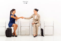 Businesswomen greeting interview Stock Photography