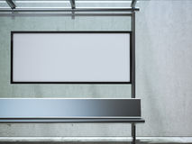 Modern busstation met wit aanplakbord het 3d teruggeven Stock Foto's