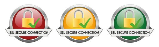 Modern Button Vector SSL Secure Connection. For the creative use in graphic design Stock Image