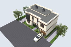 Modern byggande 3D Royaltyfria Bilder