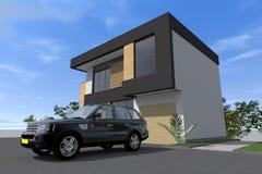 Modern byggande 3D Royaltyfri Foto