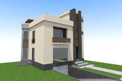 Modern byggande 3D Arkivbild