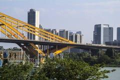 Modern byggnad längs Dongping flodsida arkivbild