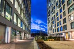 Modern byggnadsarkitektur av Olivia Business Centre i Gdansk Arkivbilder