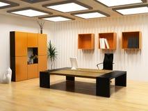 Modern cabinet interior. Modern interior design of cabinet boss room(3D render