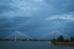 Modern cable bridge over the Columbia River. In Washington State stock photo